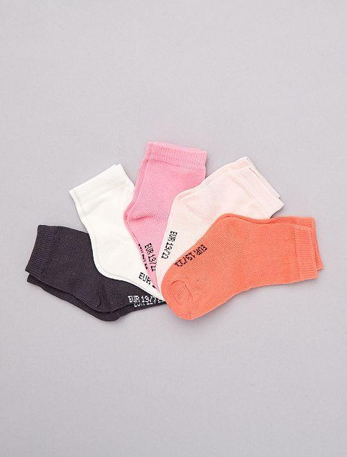 Lot de 5 paires de chaussettes                                          rose
