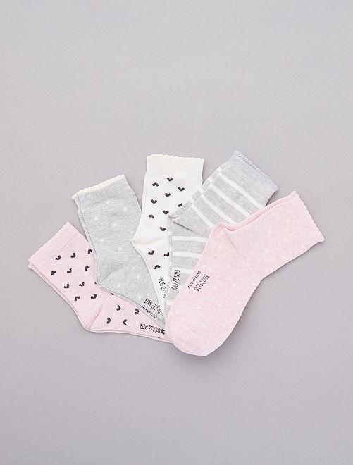 Lot de 5 paires de chaussettes                             rose Fille