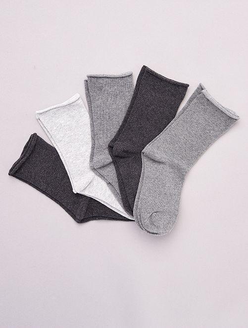 Lot de 5 paires de chaussettes unies en coton bio                                         gris