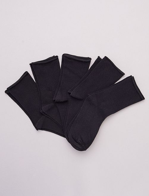 Lot de 5 paires de chaussettes unies en coton bio                                         noir