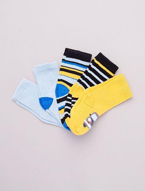 Lot de 5 paires de chaussettes 'véhicules'                                         jaune/bleu