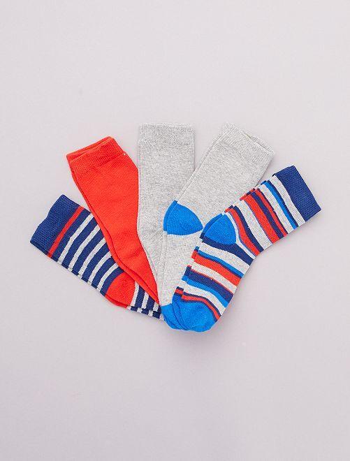 Lot de 5 paires de chaussettes 'véhicules'                                         rouge/bleu