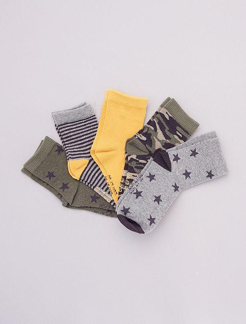 Lot de 5 paires de chaussettes                                         vert/jaune/gris