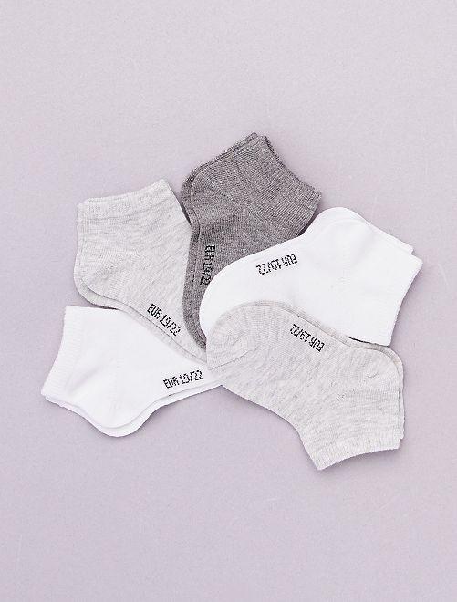 Lot de 5 paires de socquettes 'éco-conception'                             gris chiné/blanc