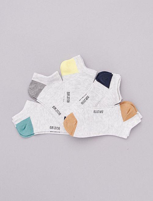 Lot de 5 paires de socquettes                                                                                                                             gris chiné uni