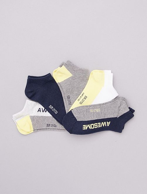 Lot de 5 paires de socquettes                                                                                                                             gris/jaune