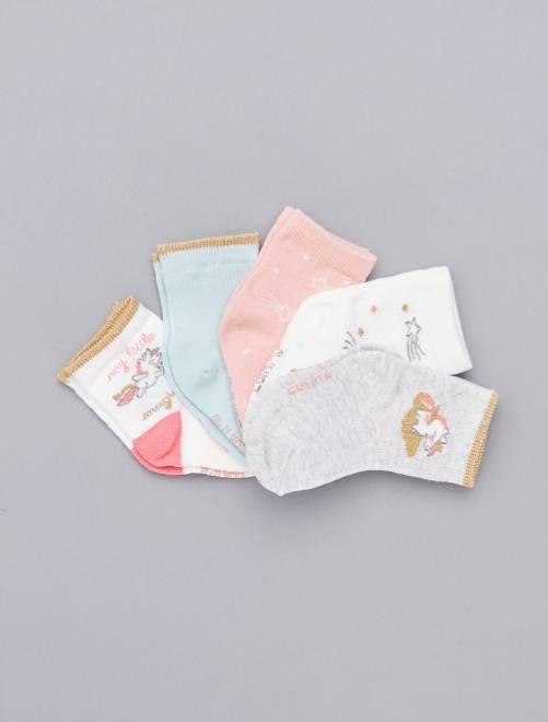 Lot de 5 paires imprimées                                                                             écru/rose/bleu Bébé fille