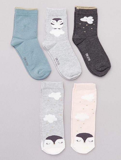 Lot de 5 paires 'pingouin'                                                     gris/vert/rose