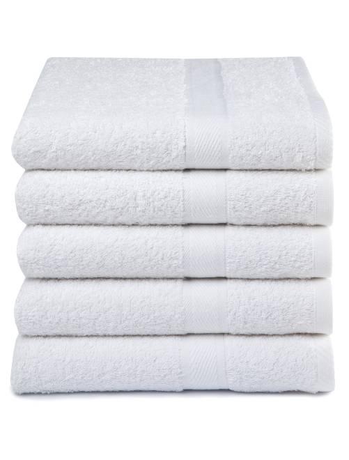 Lot de 5 serviettes pur coton                                             blanc