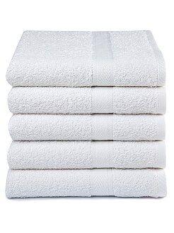 Serviettes de toilette - Lot de 5 serviettes pur coton - Kiabi