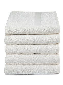 Linge de toilette - Lot de 5 serviettes pur coton - Kiabi