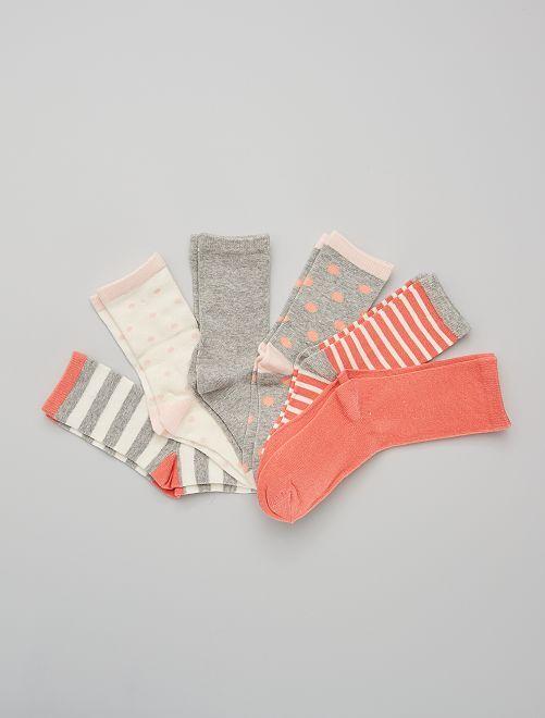 Lot de 6 paires de chaussettes                                         rose/gris