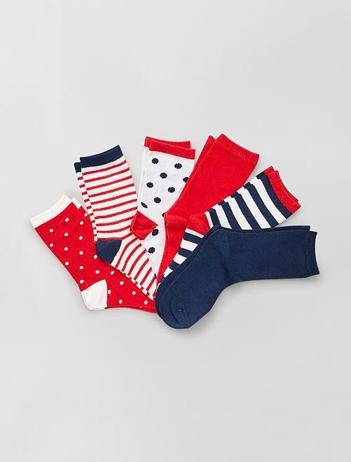 Lot de 6 paires de chaussettes                                         rouge