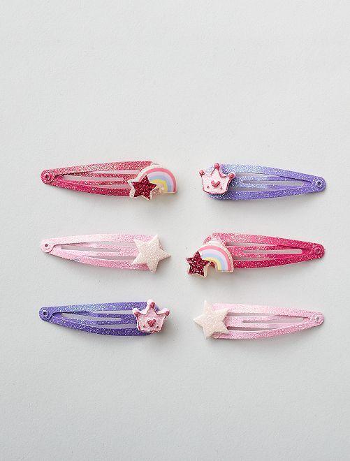 Lot de 6 pinces à cheveux                                         rose/violet