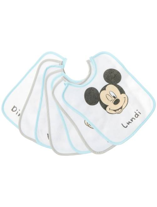Lot de 7 bavoirs 'Disney Baby' 'Mickey Mouse'                             blanc/bleu