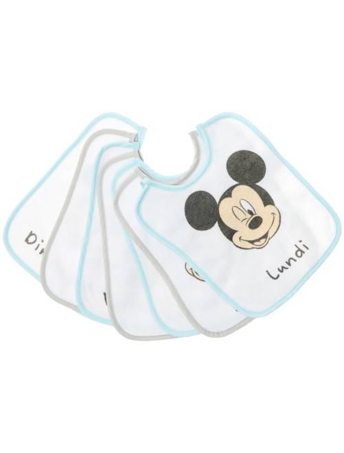 Lot de 7 bavoirs 'Disney Baby' 'Mickey Mouse'                             blanc/bleu Bébé garçon