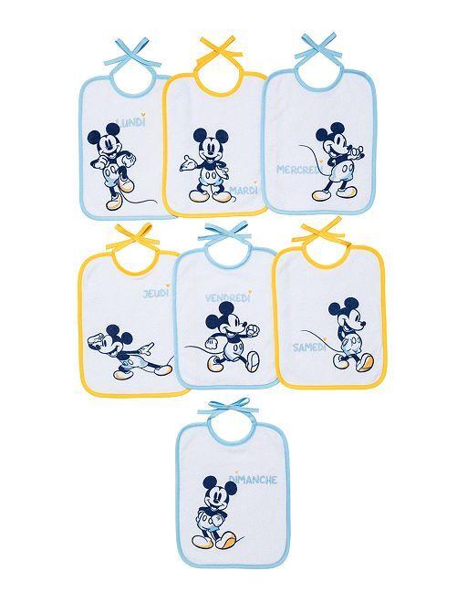 Lot de 7 bavoirs semainier 'Mickey'                                         bleu/orange
