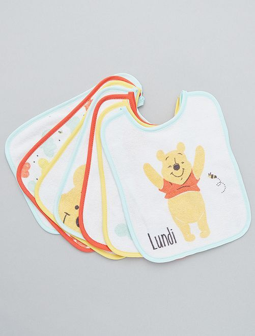 Lot de 7 bavoirs 'Winnie l'Ourson' de 'Disney'                             orange Bébé fille