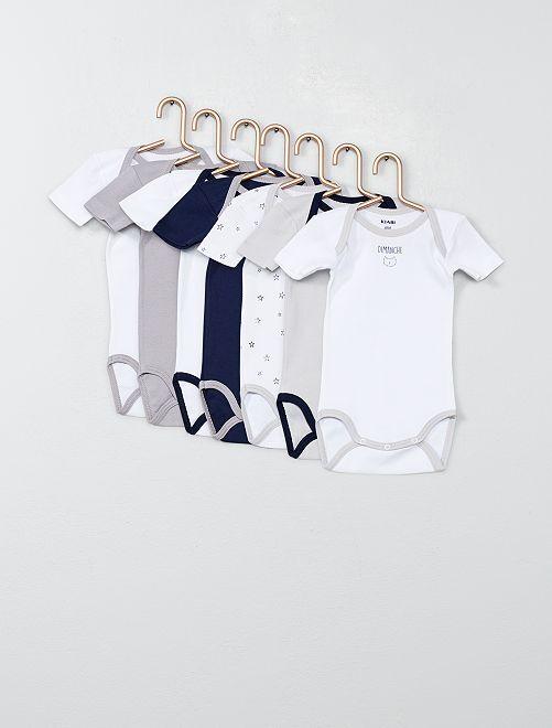 Lot de 7 bodies imprimés                             bleu/blanc Bébé garçon