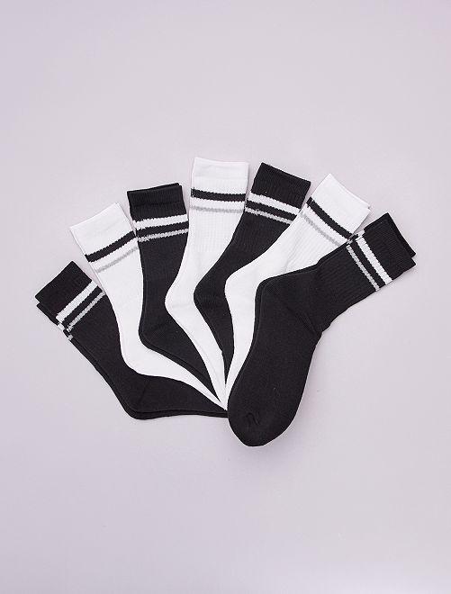 Lot de 7 paires de chaussettes de tennis                             noir/blanc
