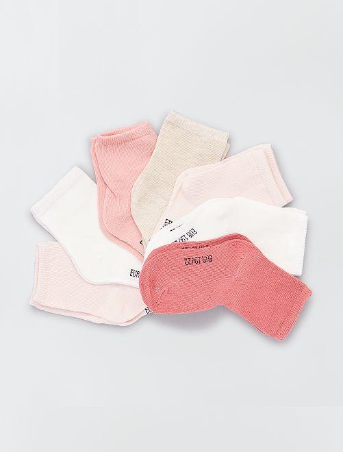 Lot de 7 paires de chaussettes éco-conçu                                         rose