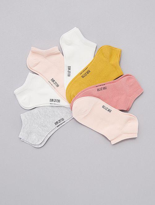 Lot de 7 paires de chaussettes invisibles                                         blanc/rose/gris/jaune