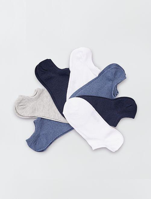 Lot de 7 paires de chaussettes invisibles                                                                             bleu