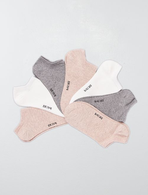 Lot de 7 paires de chaussettes invisibles                                                                                         rose/gris/blanc