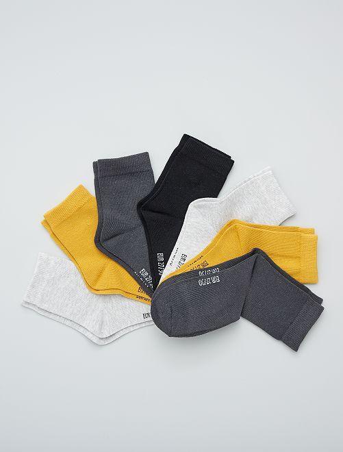 Lot de 7 paires de chaussettes                                         jaune gris noir