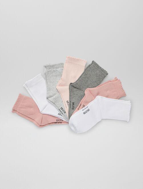 Lot de 7 paires de chaussettes                             rose/gris/blanc