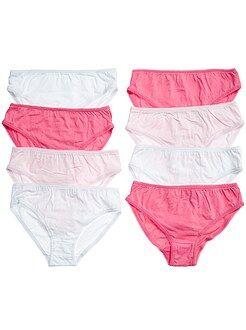 Sous-vêtement - Lot de 8 culottes unies - Kiabi