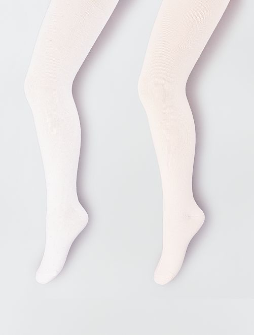 Lots de 2 collants                                         rose/blanc