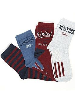 Garçon 10-18 ans Lots de 4 paires de chaussettes