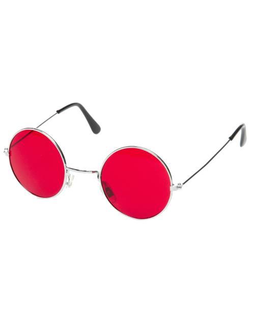 Lunettes rondes déguisement hippie                                                                                         rouge