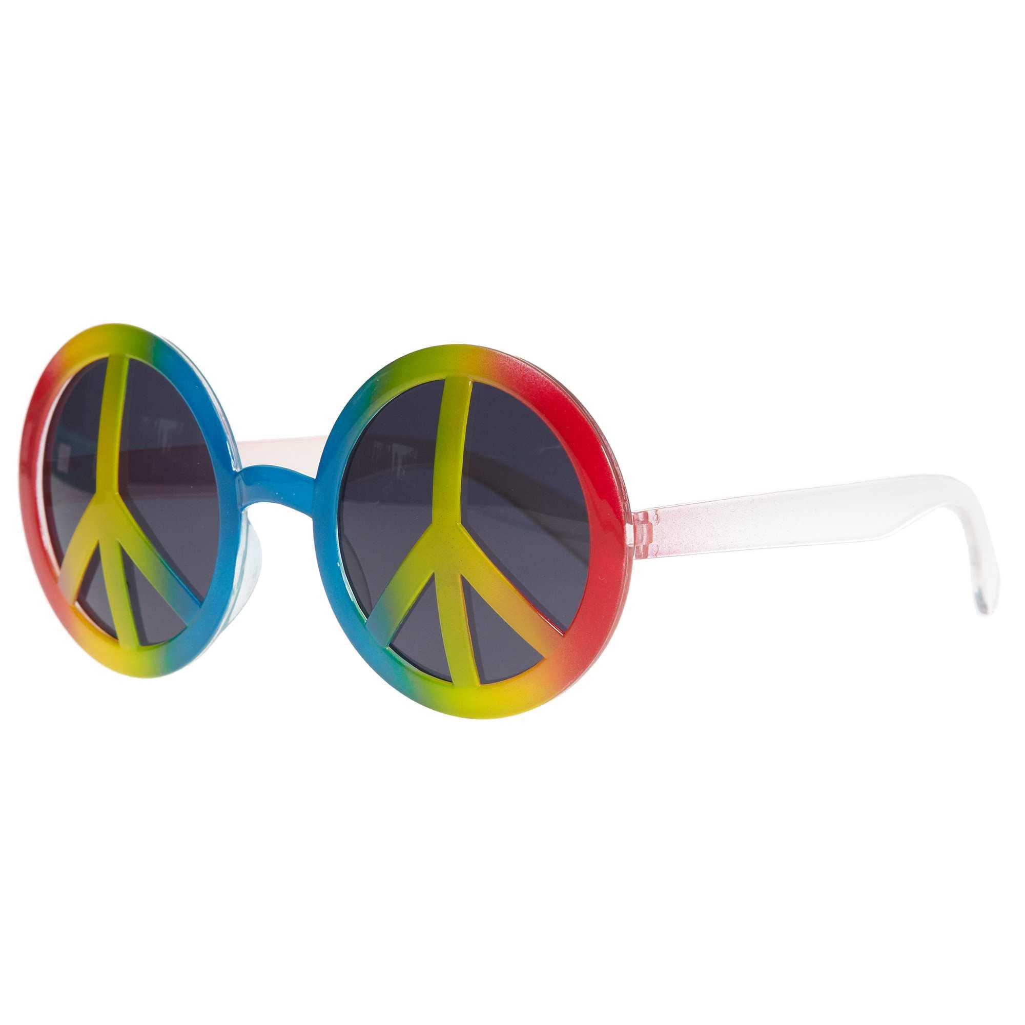 Couleur : multicolore, , ,, - Taille : TU, , ,,Adoptez le look du parfait hippie avec les lunettes rondes en plastique peace and love