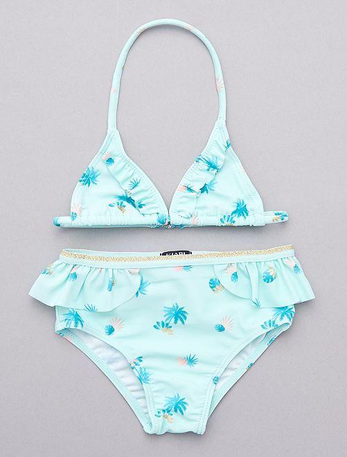 Maillot de bain 2 pièces 'palmier'                             bleu turquoise Bébé fille