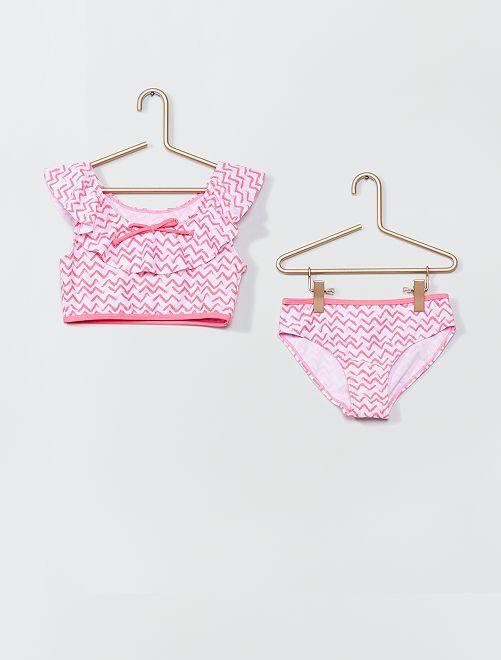 Maillot de bain 2 pièces                             rose/blanc