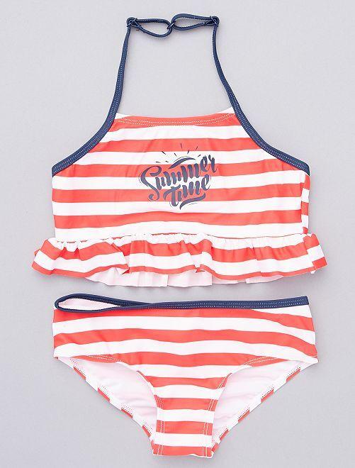 Maillot de bain 2 pièces 'Summer time'                                         rouge/blanc