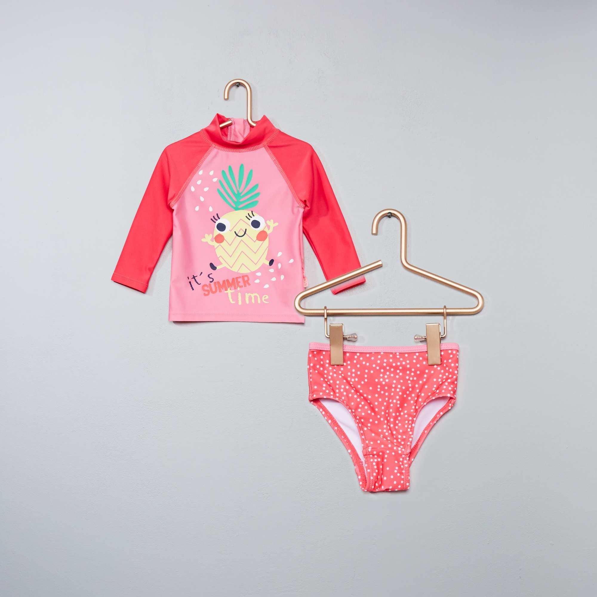 2bfa989e59e78 Maillot de bain anti UV  ananas  Bébé fille - rose - Kiabi - 16