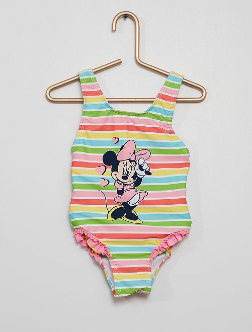 Maillot de bain rayé 1 pièce 'Minnie' 'Disney'                             rose