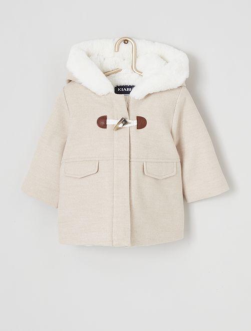 Manteau à capuche en fausse fourrure                                                                 beige