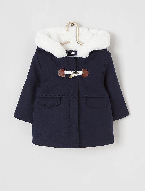 Manteau à capuche en fausse fourrure                                                                 bleu