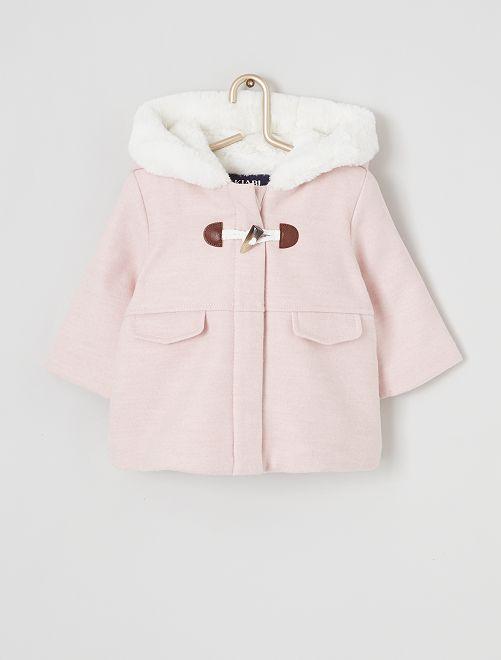 Manteau à capuche en fausse fourrure                                                                 rose