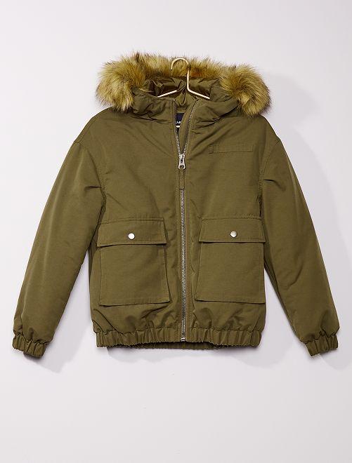 Manteau à capuche fausse fourrure                             kaki