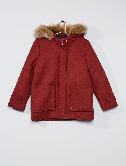 Manteau à capuche fausse fourrure                                                                 pomme