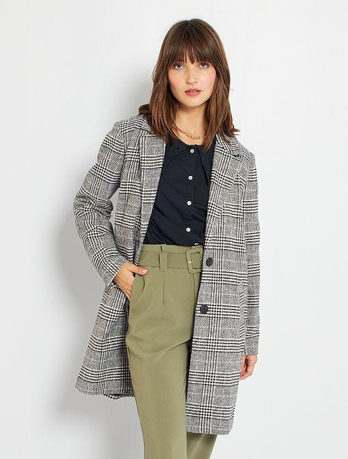 Manteau à carreaux 'JDY'                             noir