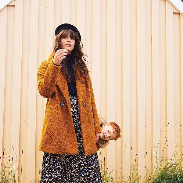 Manteau bouclettes à double boutonnage Femme jaune Kiabi