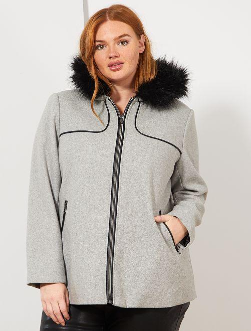 Manteau caban avec capuche fourrée                                         GRIS Grande taille femme