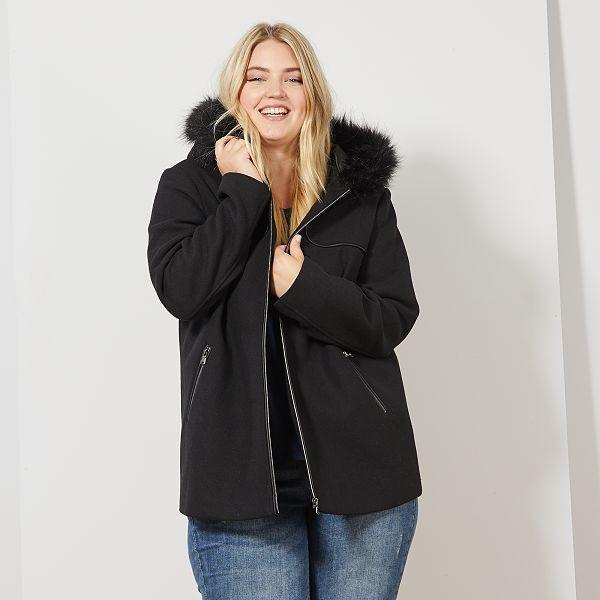Manteau caban avec capuche fourrée