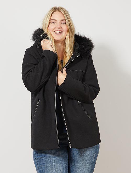 Manteau caban avec capuche fourrée                                         noir Grande taille femme
